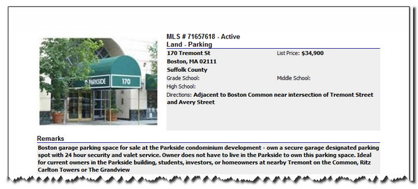 Tremont Street Boston Parking-Space for Sale